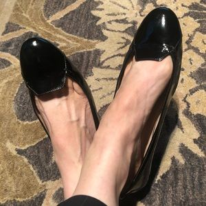 Tod's Patent Leather Ballet Flats 8 Black Gomma